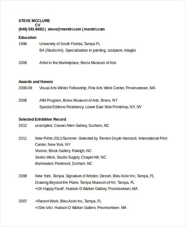 Artist Resume Template | Template Business