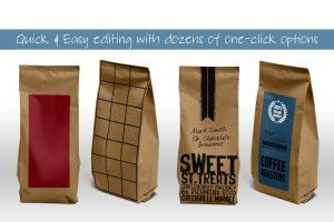 artistic business cards paper bag packaging mockup