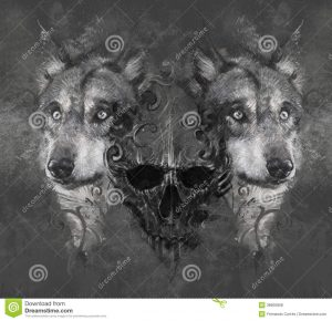 artistic business cards wolf illustration skull tattoo design over grey background textured backdrop artistic image