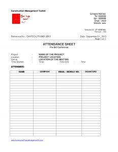 attendance sheet excel days bid procedure for construction project