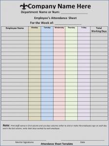 attendance sign in sheet attendance sheet template