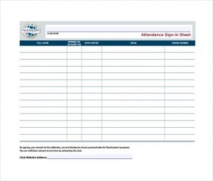 attendance sign in sheet attendance sign in sheet example template free download