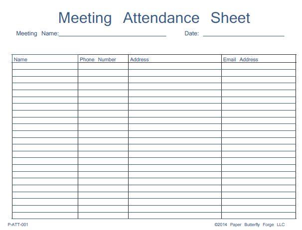 attendance sign in sheet