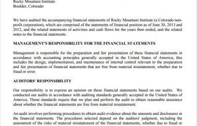 audit report example internal audit report