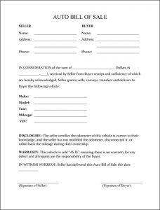 automobile bill of sale pdf auto bill of sale form