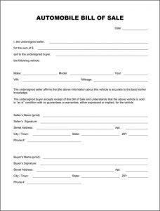 automobile bill of sale pdf automobile bill of sale form