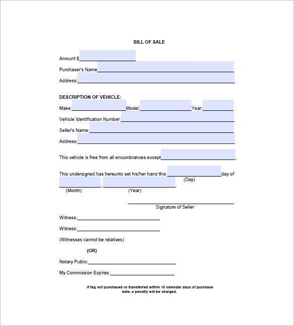 automobile bill of sale pdf
