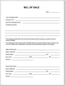 automobile bill of sale pdf bill of sale form template