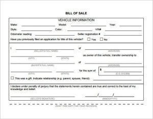 automobile bill of sale pdf bill of sale template free word excel pdf documents regarding vehicle bill of sale template word