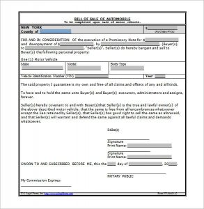 automobile bill of sale template bill of sale and promissory note for car word doc download