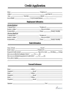 automotive bill of sale form business credit application form
