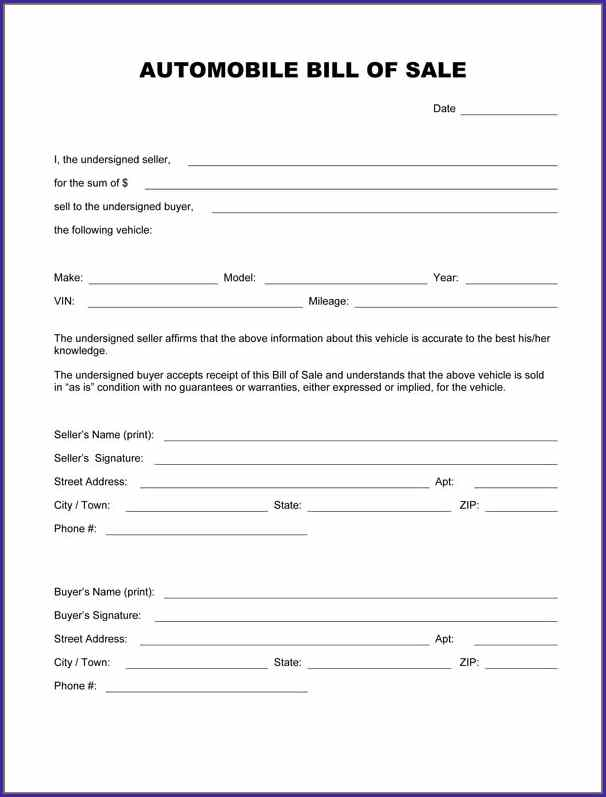 automotive bill of sale form