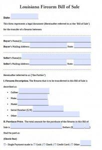 automotive bill of sale form louisiana firearm bill of sale x