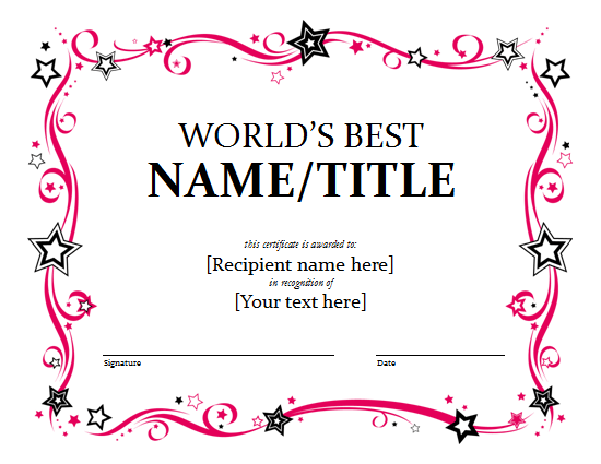 award certificate template free