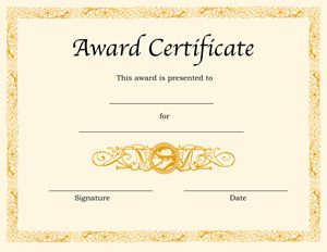award certificate template free certificate template