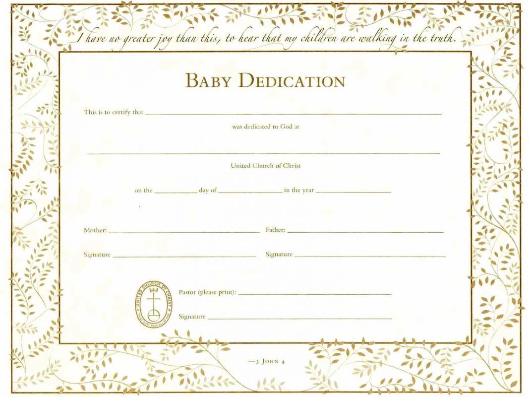 baby dedication certificates