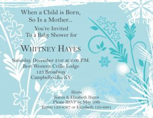 baby shower invitations that can be edited blue and white flowers preview
