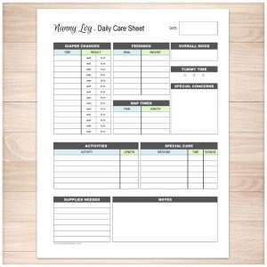 babysitter information sheet nanny log daily infant care sheet printable planning