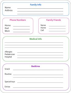 babysitters information sheet babysitter info sheet