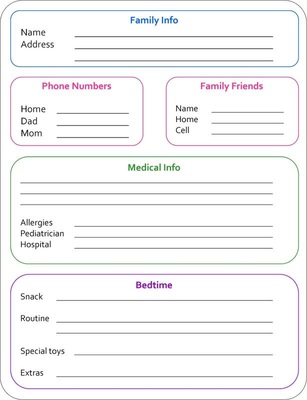 babysitters information sheet