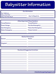 babysitters information sheet babysitter sheet