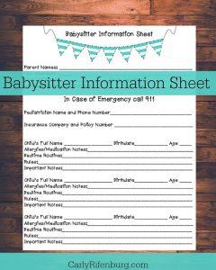 babysitters information sheet il xn vit