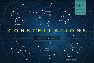 background for flyers constellations vector set c