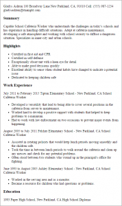 banking cover letter school cafeteria worker