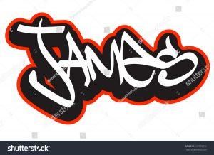 banner design template stock vector james graffiti font style name hip hop design template for t shirt sticker or badge