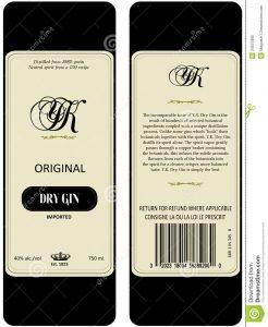bar menu template gin label