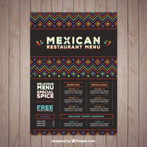bar menu template modele de menu mexicain avec des formes ethniques