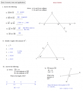 basic geometry worksheets basic geometry terms and applications solutions large
