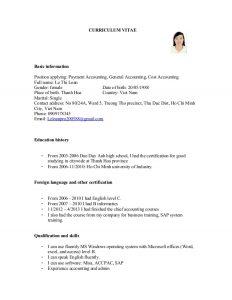 basic job application cv for payment accounting general accounting cost accounting