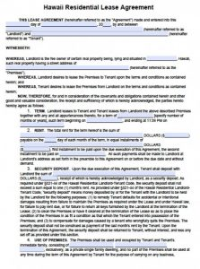 basic rental agreement or residential lease word doc hawaii residential lease agreement x