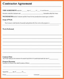 basic rental agreement pdf contractor contract template contractor agreement