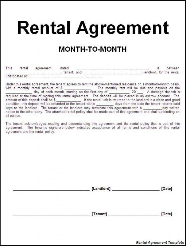 basic rental agreement template