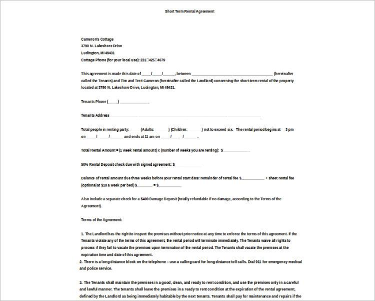 basic rental agreement word document