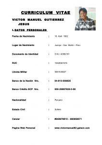 basic resume template word curriculum vitae victor manuel gutierrez
