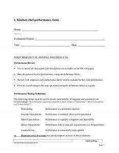 basketball tryout evaluation form kitchen chef performance appraisal