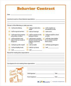 behavior contract template blank behavior contract template