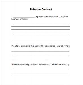 behavior contract template simple behavior contract template