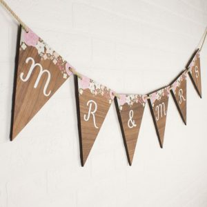best love letter for him personalised wedding bunting wood floral mlm x