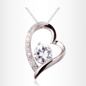 best love letter for him women s love heart sterling silver gold plated cz pendant necklace