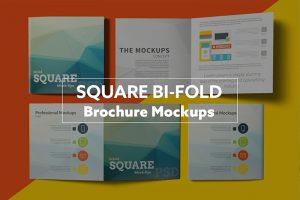 bi fold brochure square bi fold brochure mockups