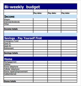 bi weekly budget sample bi weekly budget template
