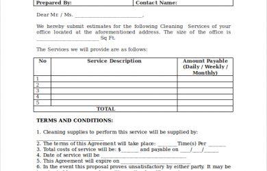 bid proposal template cleaning bid proposal template