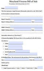 bill of sale for car pdf maryland firearm bill of sale x