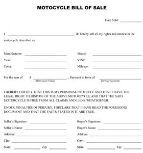 bill of sale for motorcycle motorcycle bill of sale