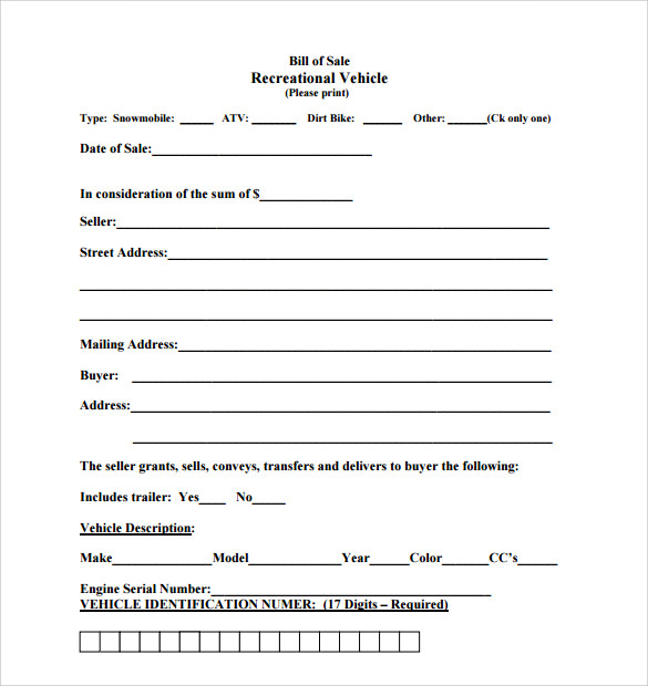 bill of sale for motorcycle