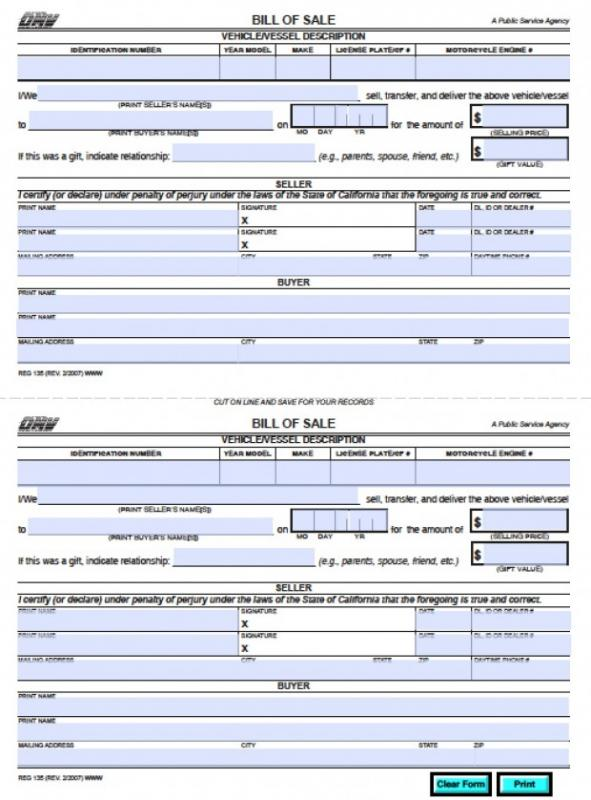 bill of sale for trailers